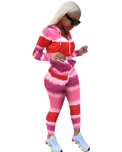 Red Gradient color long sleeve sports suit two-piece