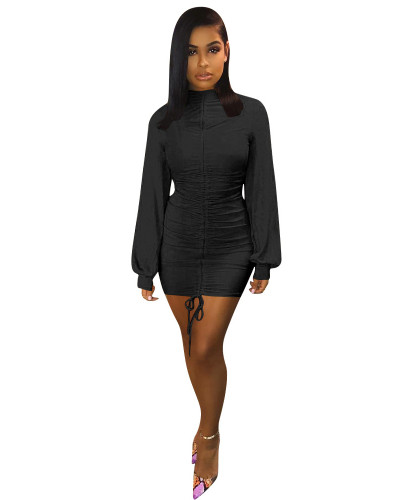 Black Lantern sleeve tight dress