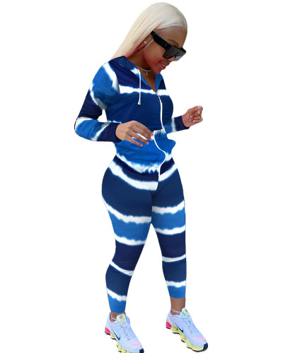 Blue Gradient color long sleeve sports suit two-piece