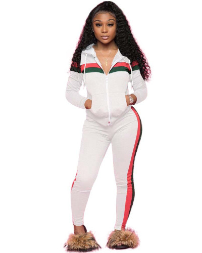 White Spliced leisure sports two-piece set with hood