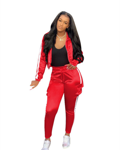 Red Spliced sports and leisure two-piece suit