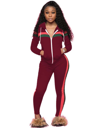 Red Spliced leisure sports two-piece set with hood