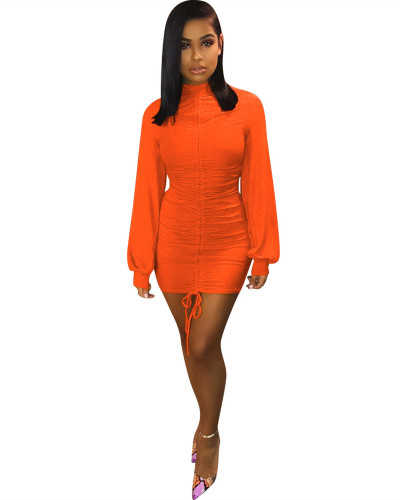 Orange Lantern sleeve tight dress