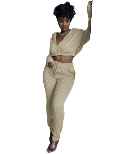 Khaki Sports and leisure two-piece suit