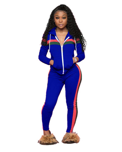 Blue Spliced leisure sports two-piece set with hood