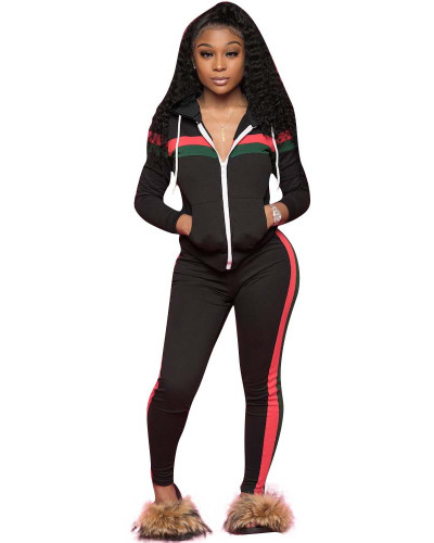 Black Spliced leisure sports two-piece set with hood