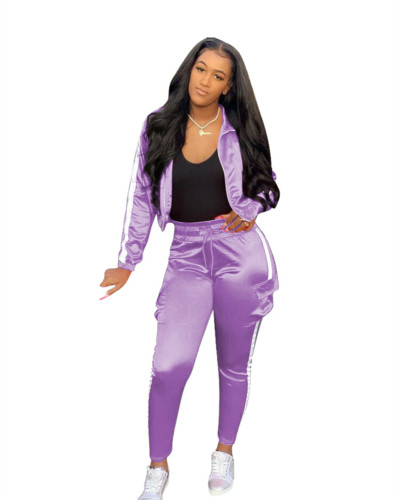 Purple Spliced sports and leisure two-piece suit