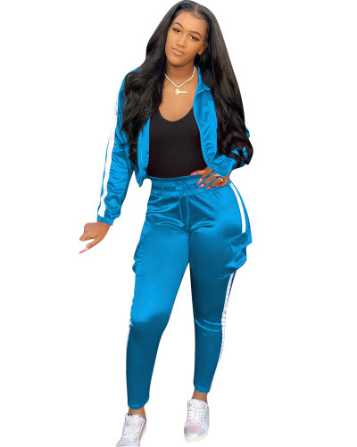 Blue Spliced sports and leisure two-piece suit