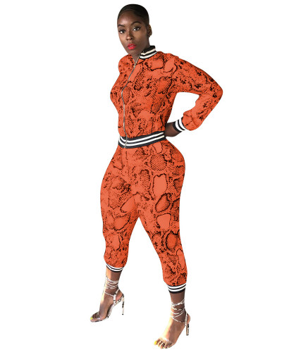 Orange Snakeskin printed leisure sports two-piece suit