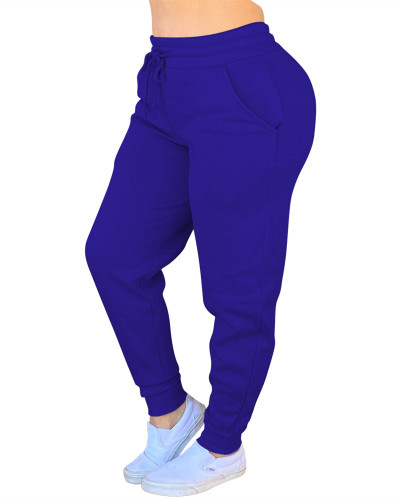 Blue Solid color drawstring pants