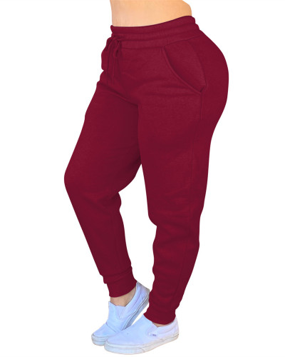 Red Solid color drawstring pants