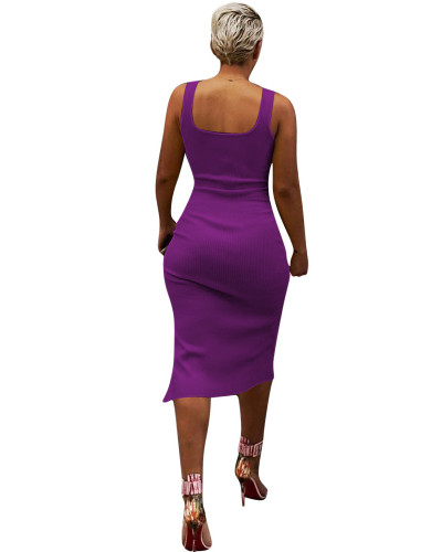 Purple Solid color irregular sexy dress