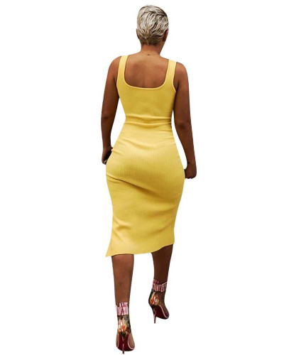 Yellow Solid color irregular sexy dress