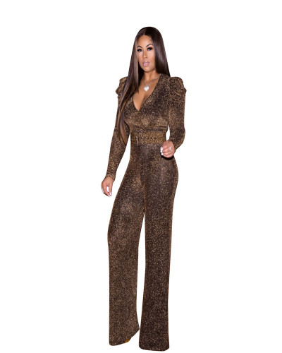 Gold High Stretch Nylon Gold Wire Leisure Jumpsuit