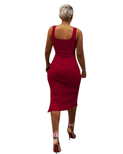 Red Solid color irregular sexy dress