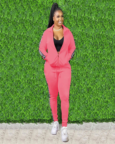 Pink Copy White Autumn and Winter Letter Stitching Sport Leisure two-piece set