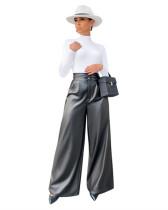 Wide leg high waist PU pants