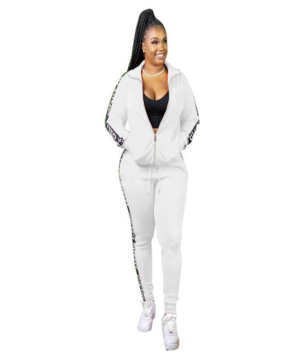 White Autumn and Winter Letter Stitching Sport Leisure two-piece set