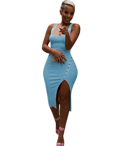 Blue Solid color irregular sexy dress