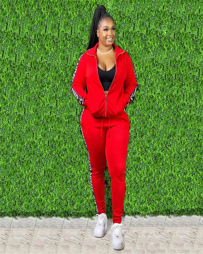 Red Autumn and Winter Letter Stitching Sport Leisure two-piece set