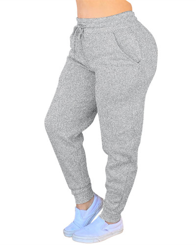 Gray Solid color drawstring pants