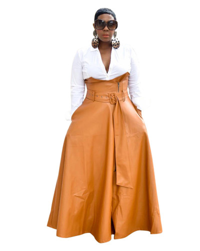 Brown Irregular PU skirt