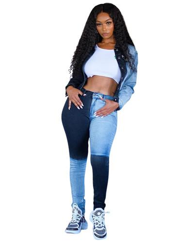 Light Blue Personality contrast stitching denim trousers