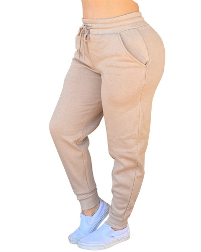 Khaki Solid color drawstring pants