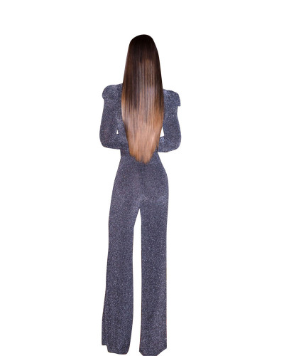 Gray High Stretch Nylon Gold Wire Leisure Jumpsuit
