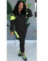 Black Fashion Leisure stitching two-piece set