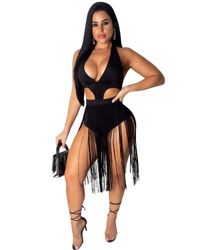 Black Solid color fringed cutout jumpsuit
