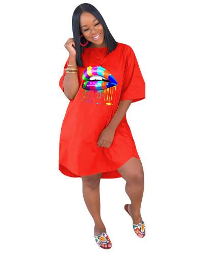 Orange Loose plus size solid color women's dress