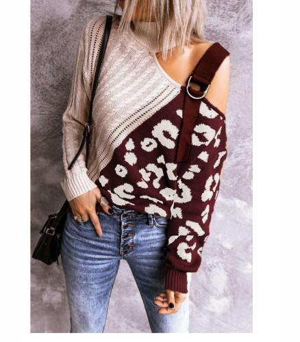 Red color block leopard print high neck off-shoulder sweater
