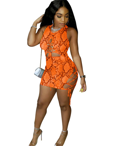 Orange Snakeskin print women's tight dress
