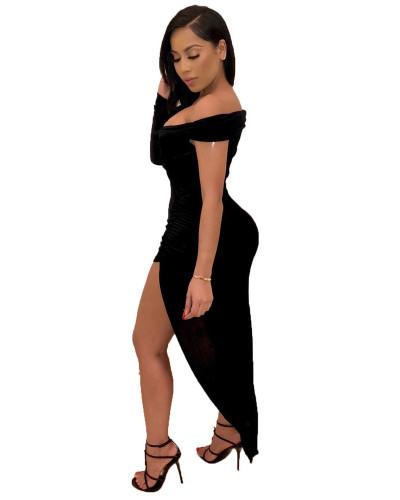 Black Solid color one-sleeve V-neck irregular nightclub dress