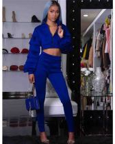 Blue Two-piece sleeve set with layered flounces