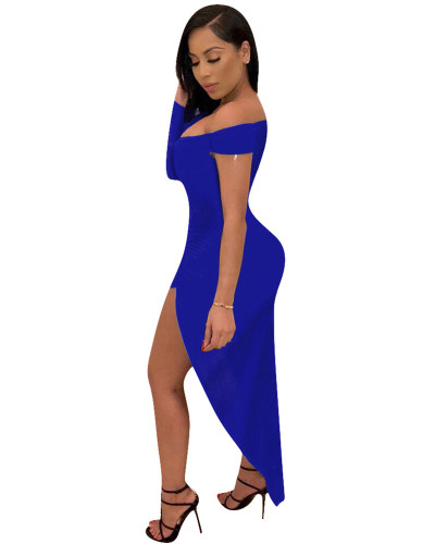Blue Solid color one-sleeve V-neck irregular nightclub dress