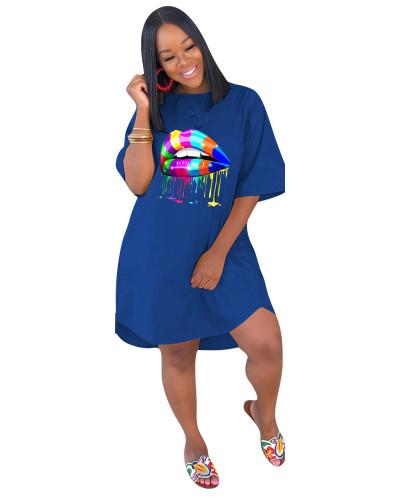 Blue Loose plus size solid color women's dress