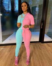 Pink Solid color stitching hoodie fabric drape set