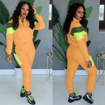 Yellow Fashion Leisure stitching two-piece set