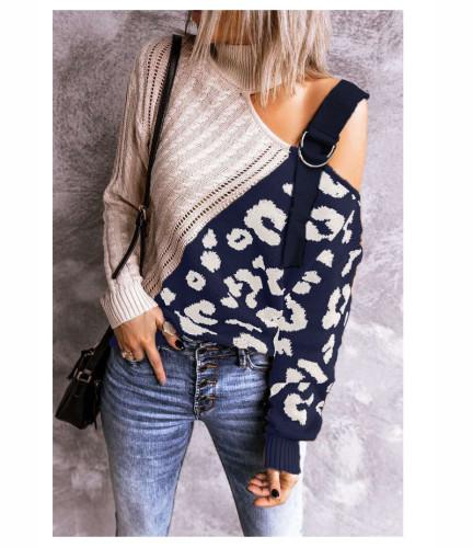 Blue color block leopard print high neck off-shoulder sweater