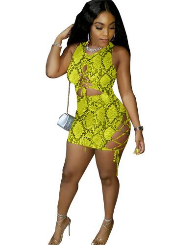 Yellow Snakeskin print women's tight dress