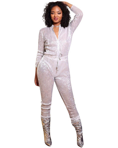 Silver Loose sequined jumpsuit nightclub outfit
