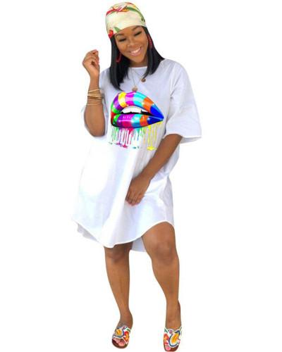 White Loose plus size solid color women's dress