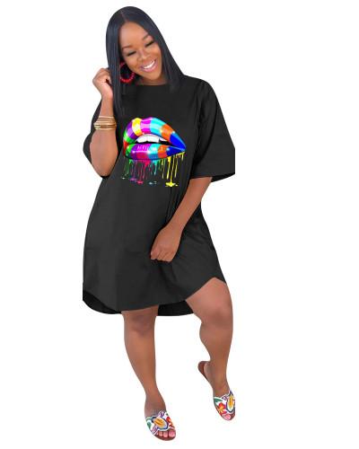 Black Loose plus size solid color women's dress