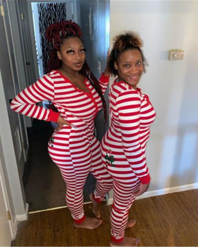Red Printed long-sleeved ladies jumpsuit