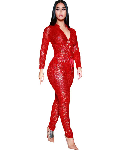 Red Loose sequined jumpsuit nightclub outfit
