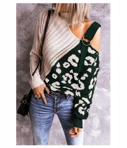 Green color block leopard print high neck off-shoulder sweater
