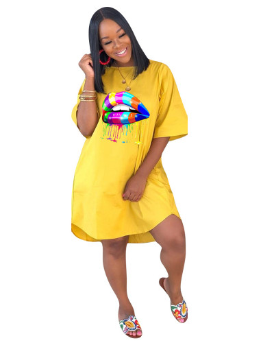 Yellow Loose plus size solid color women's dress