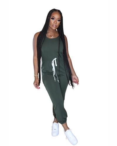 Green Hot sale solid color jumpsuit